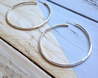 Huge hoop earrings | Handmade hoop earrings in recycled silver | Semi-flattened hoops | Eco friendly jewellery | Recycled packaging.