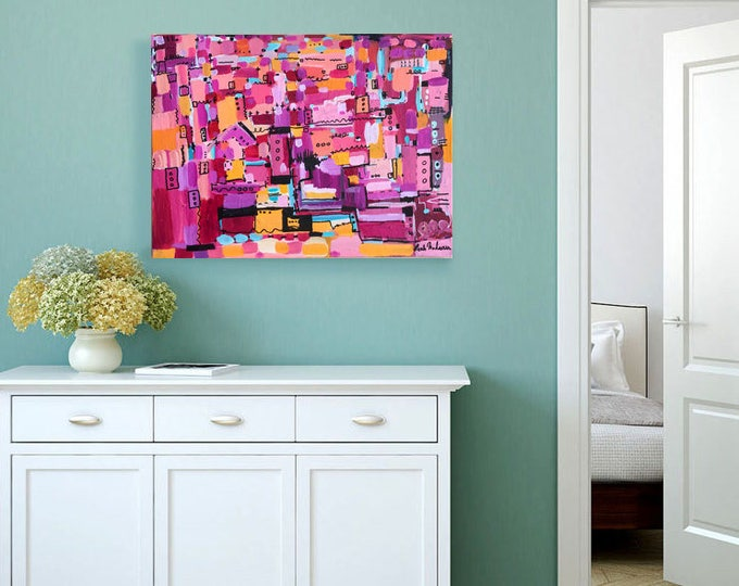 abstract painting, original painting,  pink painting, pink abstract, abstract wall art, acrylic original painting, abstract canvas, teal