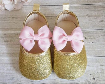 1st Birthday Girl Outfit, First Birthday Outfit Girl Pink and Gold, Gold Glitter Shoes, One Year Old Girl Birthday Outfit, Gold Baby Shoes