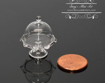 1:24 Dollhouse Miniature Fluted Cake Plate with Cover/ Miniature Cookware BD HS200