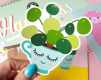 Pilea peperomioides vinyl decal   Pilea vinyl sticker   Crazy plant lady gifts   Chinese money plant present   Vinyl Decal laptop