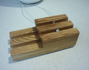 iphone 5 / 6 / 7...............  MULTI 4 Phone position Desk charging stand..Solid Oak Timber Hand made Universal size......
