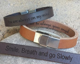 FREE SHIPPING-Personalize Men Bracelet,Personalized Leather Bracelet,Men Leather Bangle,Custom Men Leather Bracelet,Message Leather Bracelet
