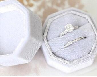 Velvet Ring Box Milky Octagon Handmade Wedding Vintage  Engagement Gift Bride