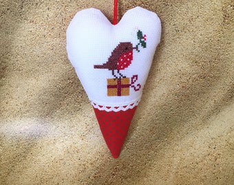 Embroidered Heart, Christmas Heart, White Red Heart, Embroidered Christmas Heart, Christmas Ornament, Christmas Decoration, Christmas Bird