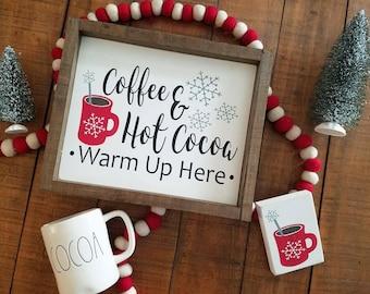 Coffee Bar Sign. Plus mini mug sign.Hot Cocoa Bar. Cocoa Bar. Framed sign. Coffee Bar sign. Christmas. Christmas Sign. Set