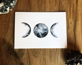 Triple Moon. Original Watercolor Painting.