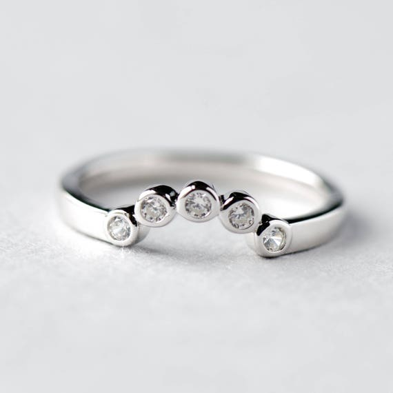 14k White Gold Ring Guard Ring Enhancer Bezel Enhancer