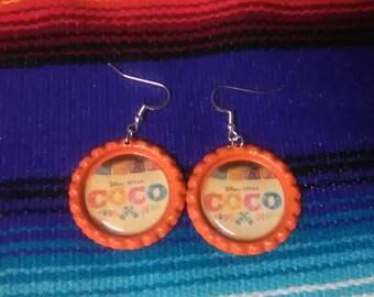 Coco Orange Bottle Cap Earrings