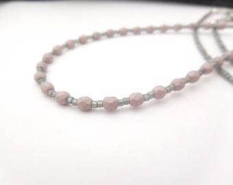 Beaded Lanyard For Badge, Necklace For Keys, Feminine Lanyard, Gray Lanyard, Purple
