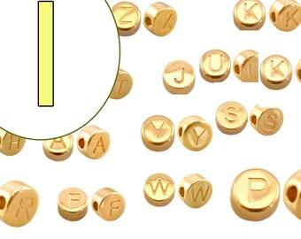 alphabet bead I 7mm gold plated #3864