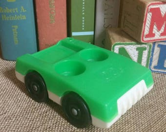 Fisher Price Little People Green Car/Vintage 1970s Fisher Price Toy/Collectible/Fisher Price Green Car with Two Front Seats/Nursery Decor