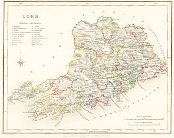 County Cork - Antique Maps of Ireland 1837 - Small