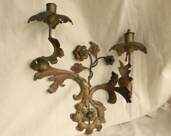 Antique wall sconce gilded BIRDS flowers mythical birds creatures // more available LEFT facing bird #1