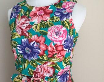 Vintage 1980s Belted Floral Sleeveless Sundress with Full Pleated Midiskirt