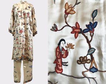 1920s Chinese Silk Pajama Set