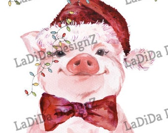 Christmas Pig Merry & Bright Sublimation Transfers - Bow Tie Christmas Lights