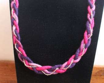 Plaited Felt Necklace In Blended Pink, Pink and Purple With Added Beaded String