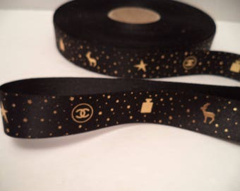 "Chanel ribbon by the yard black with gold CC logo 3/4"" wide gift wrapping or hair or crafts Christmas Holiday stars reindeer No 5"