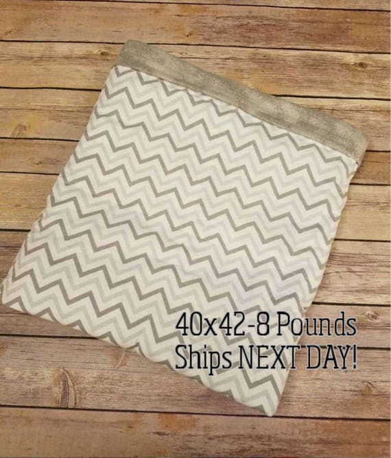 Gray Chevron, 8 Pound, WEIGHTED BLANKET, Ready To Ship, 8 pounds, 40x42 for Autism, Sensory, ADHD