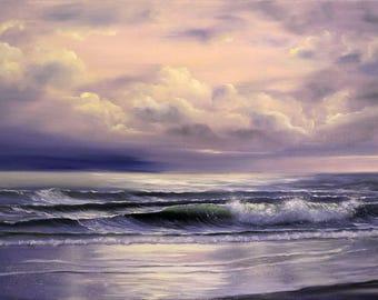 Original Ocean Painting, Seascape, Sunset Painting, XL Living Room Ocean Art, Large Oil Painting on Canvas, Purple Ocean Waves Painting