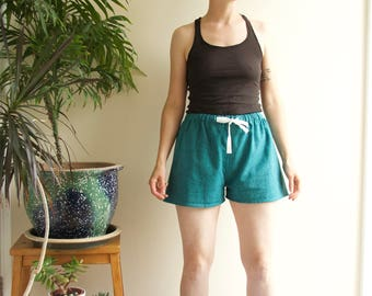 Sleep Shorts - Ocean - Flannel PJ Shorts Luxury Turquoise Herringbone Tweed Cotton Handmade Lounge Leisure Sleepwear