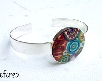 "Bracelet polymer ""multicolore2"" silver plated cabochon base"