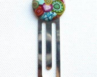 """Original silver bookmark with """"multicolor"""" polymer clay cabochon"""