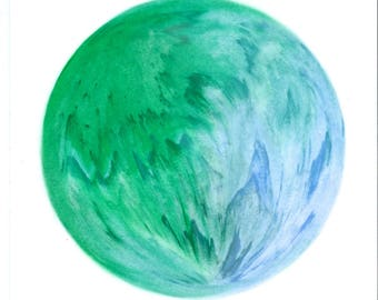 Round abstract design green and blue chalk oily