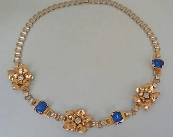Gold Filled Flower Necklace 50s 12K Blue Rhinestone Mid Century Choker Vintage Holiday Gift  UK