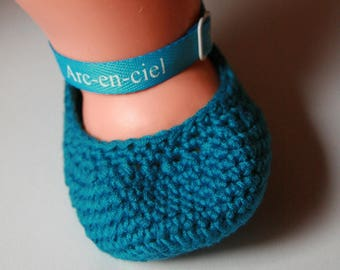 Booties crocheted turquoise - birth to 3 months