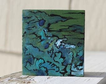Abstract Mini Painting: Green Clouds