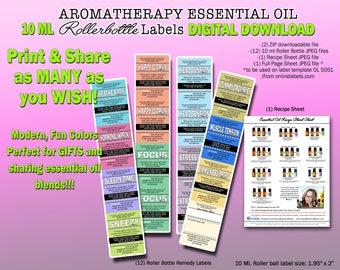 DIGITAL DOWNLOAD 10 ml essential oil Roller bottle remedy Labels by Nana's Botanical Basics