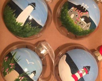 Hand painted beach theme Ornaments