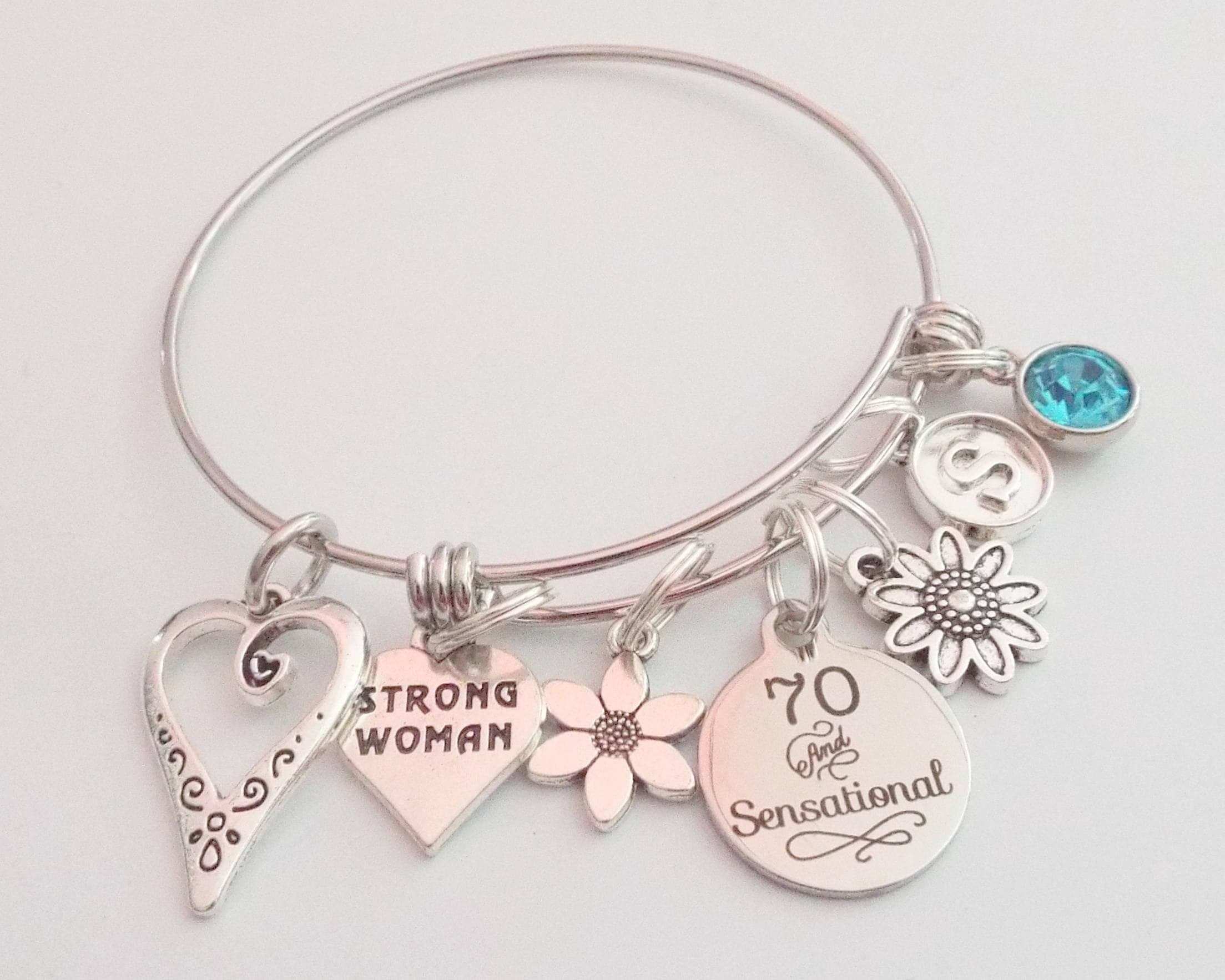 Happy 70th Birthday Charm Bracelet Gift For