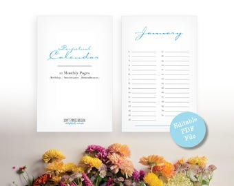 Printable Editable PDF Whimsical Perpetual Calendar - Editable PDF Birthday, Anniversary Calendar - Eternal Planner - Instant Download PDF