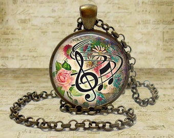 Music Necklace Music Jewelry Music Teacher gift for musician music lover Flower Music Pendant Floral Music Keychain Key Fob Musician Gift