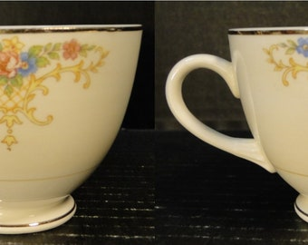 TWO Homer Laughlin Eggshell Nautilus Rochelle Teacups Set of 2 EXCELLENT!