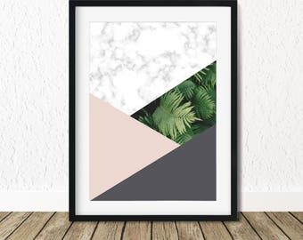 Tropical Wall Poster, Marble Print, Marble Decor, Tropical Leafs, Trending Now, Tropical Print, Tropical Leaves, Tropical Poster, Wall Art