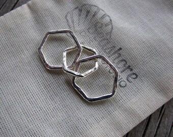 Mama metal / modular jewelry Heavy Hexagons fine silver centerpiece // ready to ship