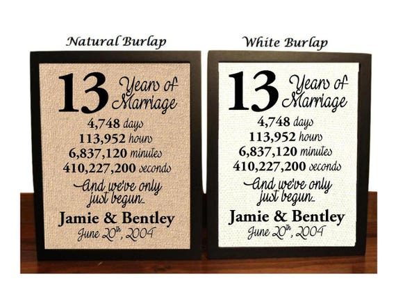 Traditional 25th Wedding Anniversary Gifts: 13th Anniversary 13 Year Anniversary 13th Anniversary Gift