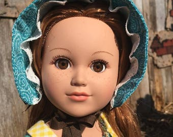 18 inch doll blue calico bonnet