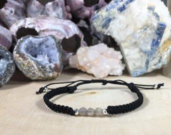 4mm Moonstone bracelet, Chakra bracelet, Crown Chakra, Healing Bracelet, Travelers Stone Bracelet