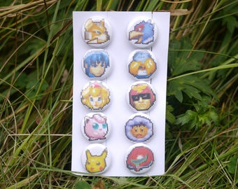 "Super Smash Bros Melee viable character stock icons - 10 button set - 1"" video game badges pins enamel pinbacks SSBM"