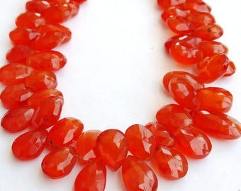 """1 Strand Natural Carnelian 16-17mm  Faceted Flat Pear Gemstone Beads 8"""" long strand By SHAMSHAD GEMS"""