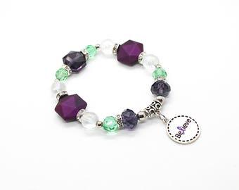 Purple Awareness Bracelet - Fibromyalgia Jewelry - Cancer Awareness - Lupus Bracelet - Lupus Warrior - Cancer Survivor Gift - Survivor Gift