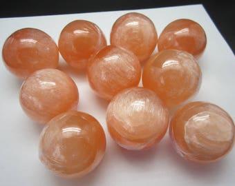 Orange SELENITE SPHERE Lot of 10 Morocco 1108g / 4cm