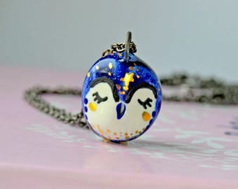 Owl Lover Jewellery, Gift for Her Idea, Galaxy Owl Necklace, Tiny Ceramic Owl, Genuine Gold Decorated, Bird Lover Gift Idea
