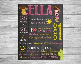 First Birthday Chalkboard/1st Birthday/First Birthday Chalkboard poster/Cowgirl/Western/Decorations/Printable Custom Sign