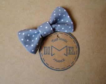 hair bow girl woman grey dots